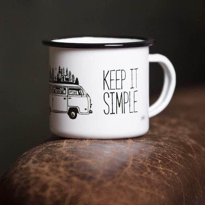 Emaille Tasse Keep it simple
