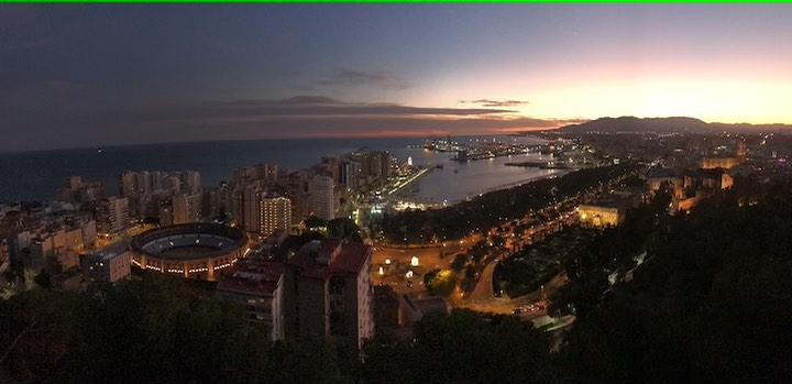 Malaga nach Sonnenuntergang