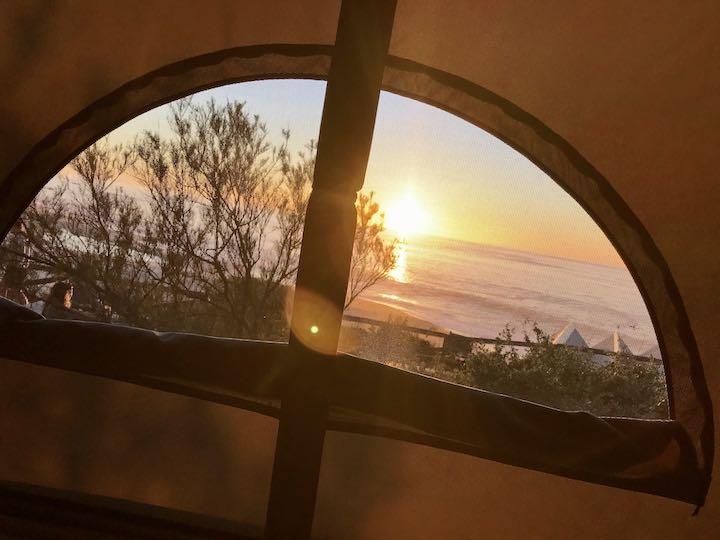 Sonnenuntergang aus dem Bulli Vanlife Westküste Portugal