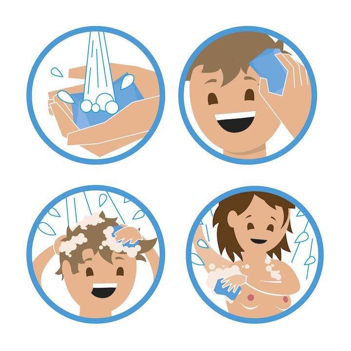 Anwendung Festes Shampoo und Duschgel