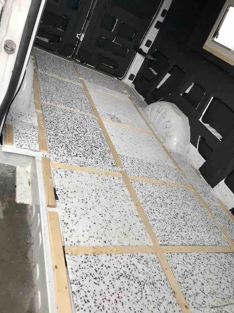 Styrodur mit Unterkonstruktion für die Bodenisolierung